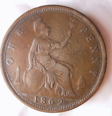 1862 GREAT BRITAIN PENNY - Rare Type - Great Coin - Lot #N20