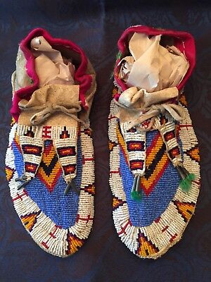 Pair Of Native American Indian Sioux Beaded Moccasins Leather Late 1800'S