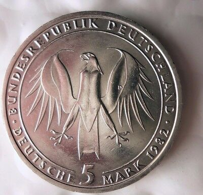 1982  GERMANY 5 MARKS - AU Low Mintage Crown Coin - Lot #N20