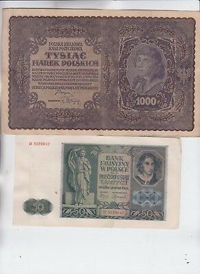 Poland Paper Money 4 notes low grade and up