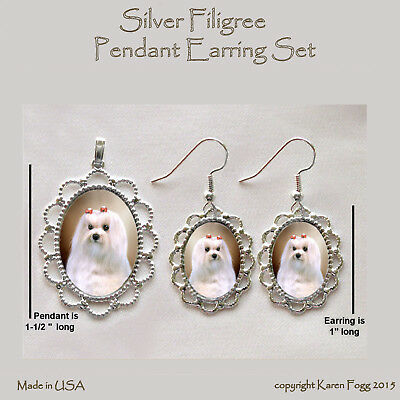 MALTESE DOG Show Coat - Filigree PENDANT EARRING Set