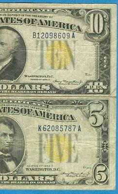 $5.00 & $10. 1934-A North Africa  Yellow Seal Wwii Issue Silver Certificates