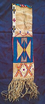 Native American Indian Sioux Beaded & Quilled Hide Pipe Bag  Late 1800'S