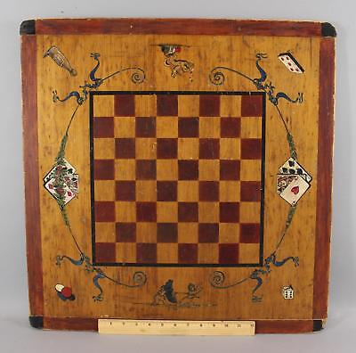 19thC Antique 1898 Folk Art Painted Gameboard, Playing Cards, Dice, NR