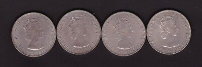 Lot Of Four Bermuda 1964 Silver Crowns