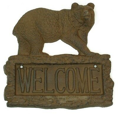 CAST IRON- Northwoods  Bear Welcome SIGN  Rustic Brown Lodge Wall Mounted
