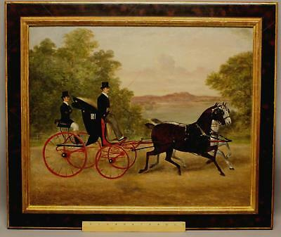 19thC Antique F.C. CLIFTON English Horse-Drawn Carriage Coaching Oil Painting NR