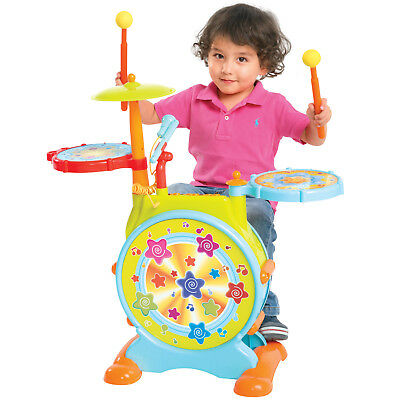 BCP Kids Electronic Toy Drum Set w/ Sing-Along, Stool - Multicolor
