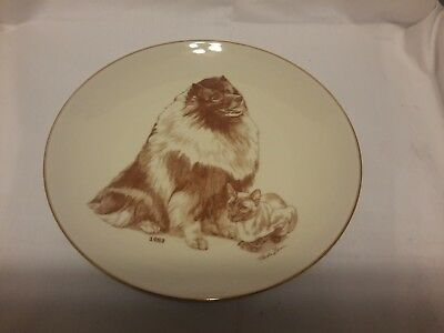 Keeshond Dog & Siamese Cat Paula Zan Collector 1983 Plate Laurelwood