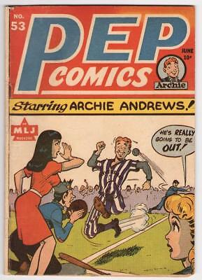 PEP Comics #53, June 1945, MLJ Magazine, Early Archie, Baseball Cover, 4.5!