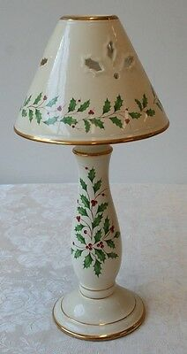 Lenox Holiday Dimension Collection Candlestick Candle Lamp Shade Holly Christmas