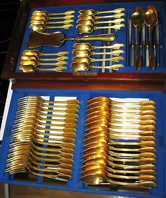 67 pcs 19th C. Christofle Gold Plated Chinon Set for 16 MOP Handle Knives & Case