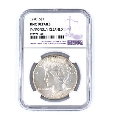Rare 1928 Peace Dollar 90% Silver Coin Key Date Ngc Graded Uncirculated Details