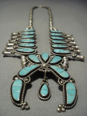 Amazing Vintage Zuni Turquoise Sterling Silver Squash Blossom Necklace