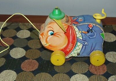 Vintage 1960's FISHER PRICE Pull Toy PUDGY PIG #478