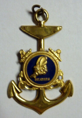 Us Navy Ww2 Sterling Silver Seabees Enamel Anchor Pendant