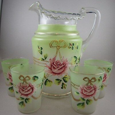 Hand Painted Victorian Water Set - Pitcher & Glasses - Large Pink Roses