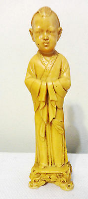 Vintage Male Figurine Asian Chinese Resin Ivory Color -Made In Italy-