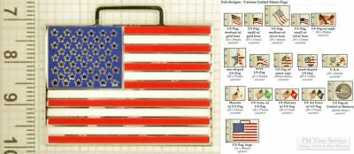 US (American) flag decorative fobs, various designs & leather strap options