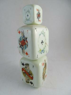 Vintage Playing Card White Milk Glass Liquor Decanter Bottle Dice Brandy Antique
