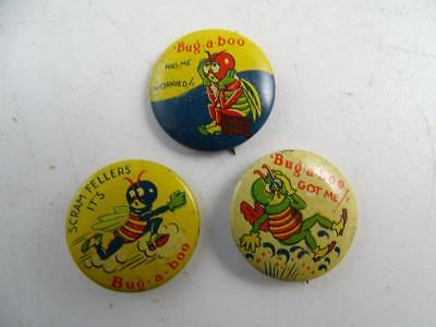 Vintage Mobil Oil Bug-A-Boo Insect Pesticide Advertising Pin Button Set Socony 3