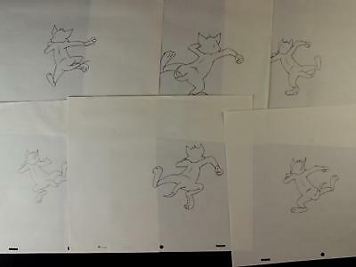 LOT of SIX 1992 TOM and JERRY THE MOVIE PRODUCTION DRAWINGS of TOM SKIPPING~