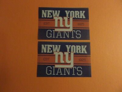 Lot Of 2-New York Giants Nfl Approved Brand New Vintage Sticker