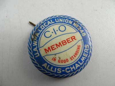 Vintage Allis-Chalmers Local Union UAW Member Pin Button Advertising Antique Old