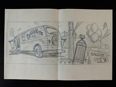 1992 TOM and JERRY PRODUCTION DRAWINGS of CAPTAIN KIDDIE VAN AND BALLOONS