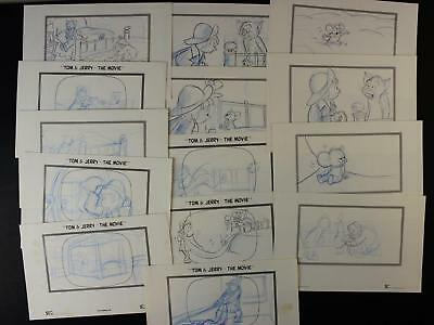 LOT of 14 1992 TOM and JERRY THE MOVIE PRODUCTION CONCEPT ART~STORY PANELS~