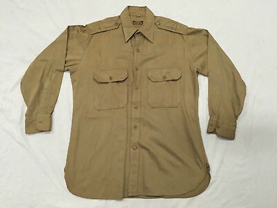 ORIGINAL WWII US ARMY KHAKI OFFICERS SHIRT 15 x 31-1/2