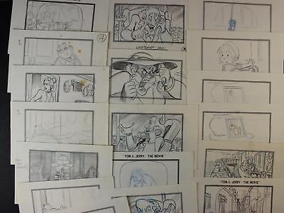 LOT of 18 1992 TOM and JERRY THE MOVIE CONCEPT ART~DRAWING STORY PANELS~