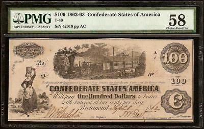 1862 63 $100 Dollar Confederate States Currency Civil War Note Money T-40 Pmg 58