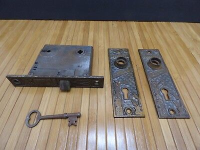 Antique eastlake mortise door lock skeleton key-old door back plate parts
