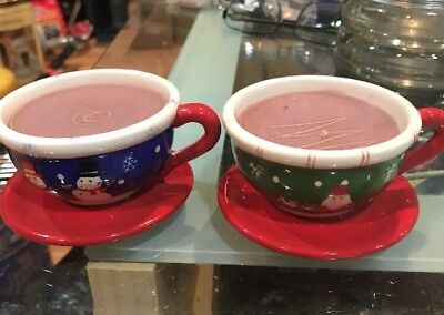 Set Of 2 Vintage AVON Christmas Candles Ceramic Tea Cups LET IT SNOW & HO HO HO