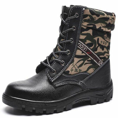 Winter Mens Camouflage Labor Safety shoes Steel toe Fur Lined work Ankle boots