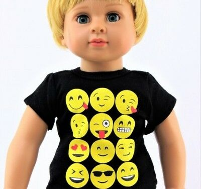 "Emoji T Shirt for American Girl or Boy 18"" Baby 15"" Doll Clothes  LOVV LOVVBUGG!"