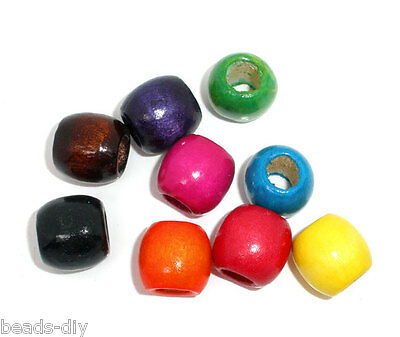 50 Mixed Dyed Drum Wood Spacer Beads 16x17mm (8mm Hole)