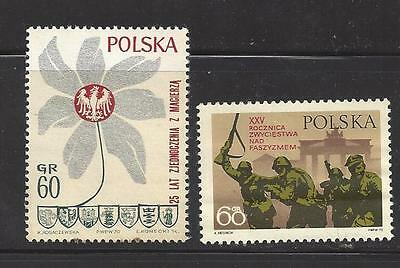 1970 Polish stamps set of 2 25th Anniversary Of Victory Over Germany mnh