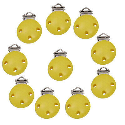 10Pcs Round Wooden Soother Holder Pacifier Dummy Clips for Baby Toddler DIY