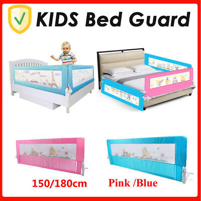 Kids Bed Guard Toddler Safety Children Bedguard Folding Metal Rail 150cm Blue UK