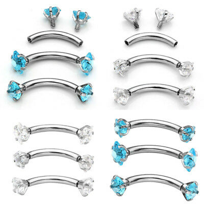 16Ga Surgical Steel Piercing CZ Curved Barbell Eyebrow Rings BarTragus Hot