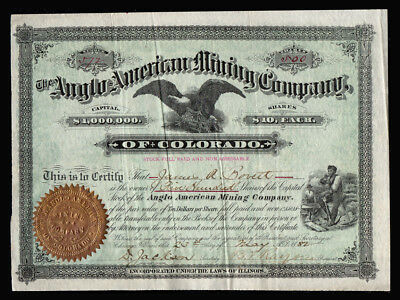 1882 SUMMIT COUNTY COLORADO Silver Mining Co. Stock Certificate - Anglo American