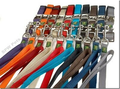 Hunter alu collar & lead sets , nylon , strong clip , 3 sizes, various colours,