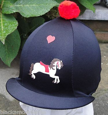 Riding Hat Silk Skull cap Cover BLACK RED  CREAM HORSE With OR w/o Pompom