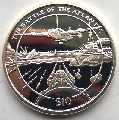 Sierra Leone 2005 Battle of The Atlantic 10 Dollars Silver Coin,Proof