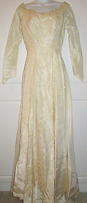 VINTAGE LACE BEAD IVORY WEDDING DRESS GOWN New York Dottie Ryon 1950's Petite XS