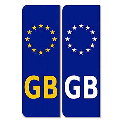 GB Euro Plate Sticker Pair Legal European Car Badge Vinyl EU