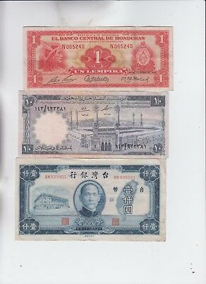 World Currency Collection  3 notes vf and up