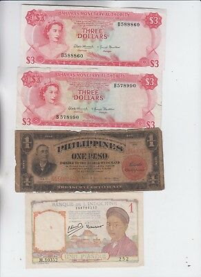 World Currency Collection  4 notes low grade and up